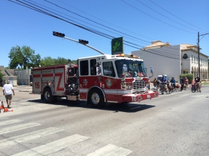 A Houston fire truck is allowed to cross Westheimer during the event.