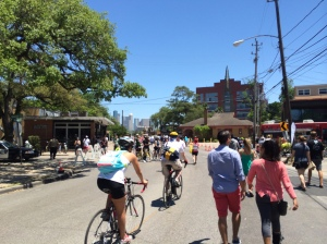 Walkers and bicyclists enjoy spectacular weather and a car-less lower Westheimer.