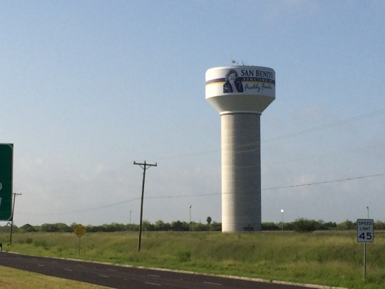 A water tower proudly claims San Benito, Texas as the