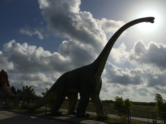 A full-size replica of a brontosaurus holds court at Bobz World.