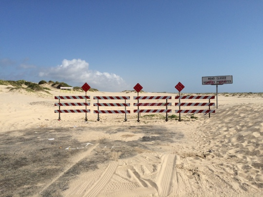 Barriers block the highway on South Padre Island.
