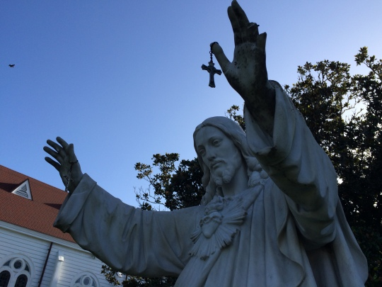 Statue of Christ at Our Lady of Refuge Catholic Church.