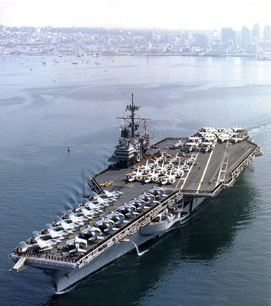 USS Ranger (CV-61) Departing San Diego, California, in February 1987. Photographed by PH3 Wimmer. Official U.S. Navy Photograph, from the collections of the Naval Historical Center.